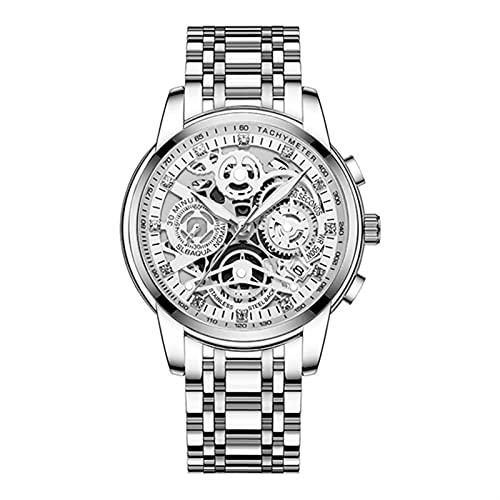 MAID Guapo Reloj Brillante para Hombres Elegantes, Hombres Negro de Lujo de Lujo Reloj de Pulsera Deporte de Cuarzo de Acero Inoxidable Reloj de muñeca de Diamante Reloj de Negocios