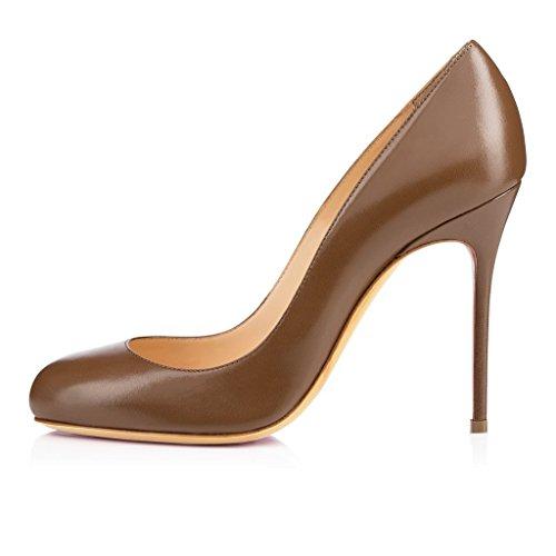 elashe Damen Slip On Stilettos High Heels Pumps Geschlossene Rounde Spitze Zehen Übergröße Klassischer Schuhe Braun EU38
