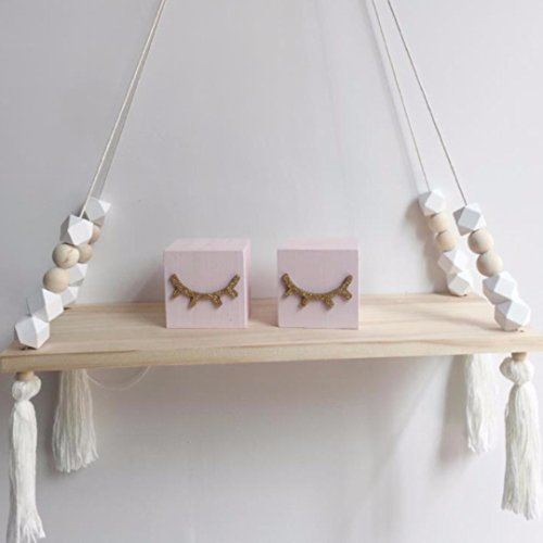 NaroFace Estante de Pared Borla de Madera Tablero Swing Ornament Decoración del Titular (Blanco)