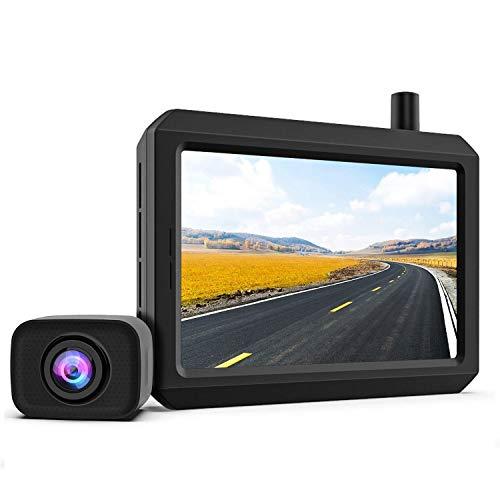 K7PRO Telecamera Retromarcia Kit Wireless Digitale supporta 2 telecamere, Telecamera Retrovisore Segnale Stabile, Monitor HD da 5 pollici, Telecamera Posteriore Impermeabile IP68, Visione Notturna