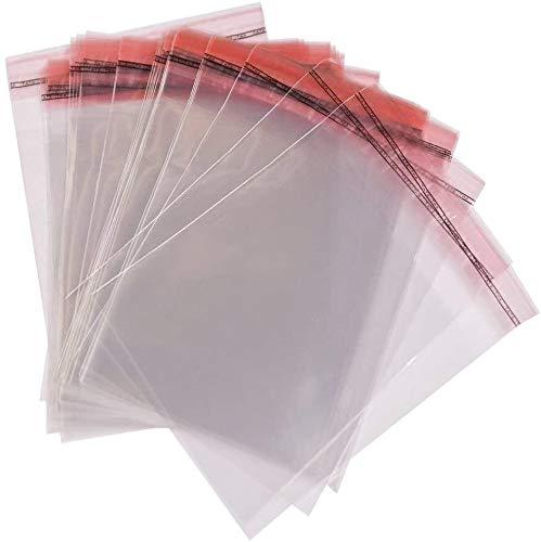 500 Klar Flachbeutel A4, 21,5 x 30 cm, Klarsichthülle Transparente mit Klappe Peel & Seal Taschen
