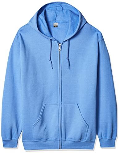 Gildan Men's Fleece Zip Hooded Sweatshirt, Style G18600, Carolina Blue Large