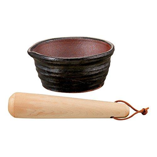 万古焼の溝のないすり鉢とすりこ木約直径15.5cm518703(サイズはありませんア:ホワイト)