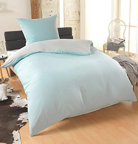 BFW Dreamhome 2-4teilig Dreamhome Uni fein Seersucker Wende Bettwäsche Bettbezug für Bettdecke Kissenbezug 80x80, Farbe:Mint-Silber, Größe:135 x 200 cm