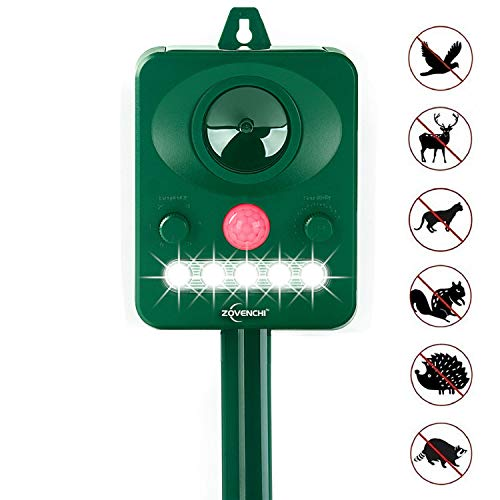 ZOVENCHI Ultrasonic Animal Repeller, Solar Powered Repeller, Activated with Motion,...
