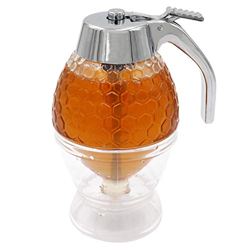 M.Z.A Dispensador de miel, jarabe de zumo, botella de miel, 200 ml, recipiente de almacenamiento con soporte de gatillo, herramienta para hornear sin goteo
