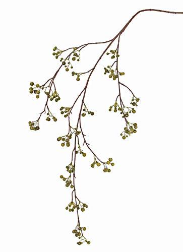 PARC Network - Künstlicher Schneebeeren Zweig, mit Beeren, grün, 120cm - Künstlicher Beerenzweig - Kunstzweig - Dekozweig - Kunst Schneebeerenzweig