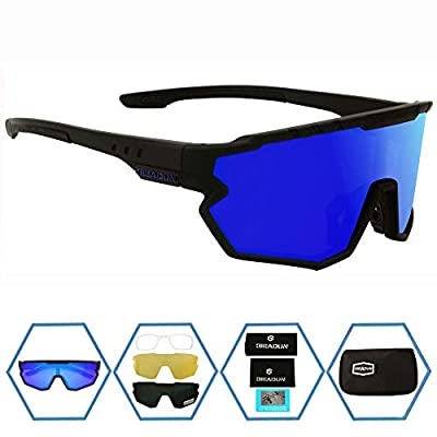 GIEADUN Sports Sunglasses Protection Cycling Glasses Polarized UV400 for Cycling, Baseball,Fishing, Ski Running,Golf (Black Blue)
