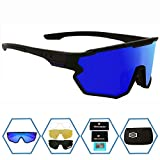 GIEADUN Sports Sunglasses Protection Cycling Glasses Polarized UV400 for Cycling, Baseball,Fishing, Ski Running,Golf (Black Blue)