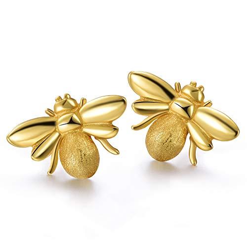 Lotus Fun S925 Sterling Silver Stud Earrings Cute Honeybee Stud Earrings for Women and Girls, Handmade Unique Jewelry (Gold)
