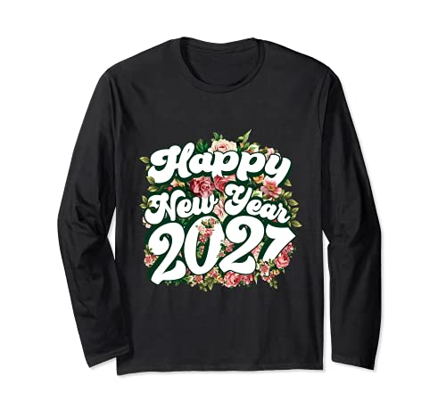 Feliz Año Nuevo 2021 Año Nuevo Familia a juego Floral Manga Larga
