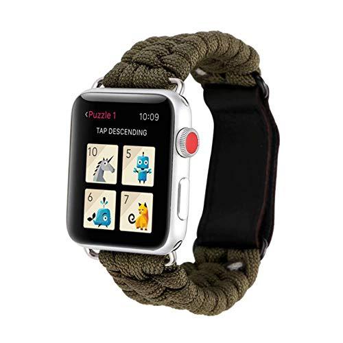 TIANQ Survival-Armband für Apple Watch 5, 44 mm, 40 mm, iWatch-Armband, 42 mm, 38 mm, Lederverschluss, für iWatch 5, 4, 3, 2, 1, China, Armeegrün