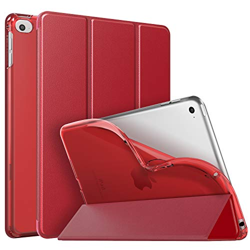 "MoKo Hülle Kompatibel für iPad Mini 5th Generation 7.9\"" 2019/iPad Mini 4 2015, PU Leder Tasche Schutzhülle mit Transluzent Rücken Deckel Auto Schlaf/Wach Funktion - Rot"