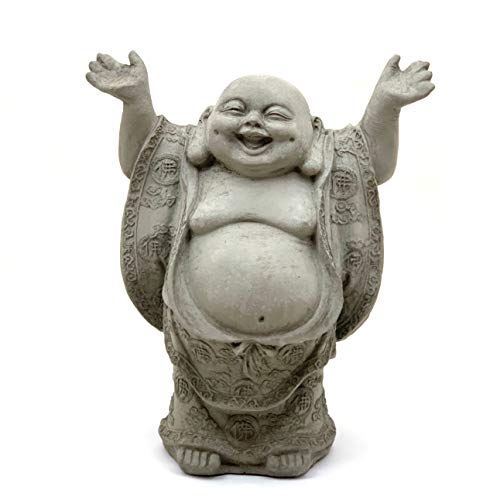 Joyful Buddha-Solid Durable Stone. Perfect Indoor Design & Sealed for Outdoor Use. Handcrafted in The USA (Antique)
