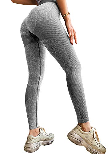 INSTINNCT Damen Gestreifte Nahtlose Leggings Slim Fit Jogginghose Sporthosen Fitnesshose B-Herz Muster (grau) S