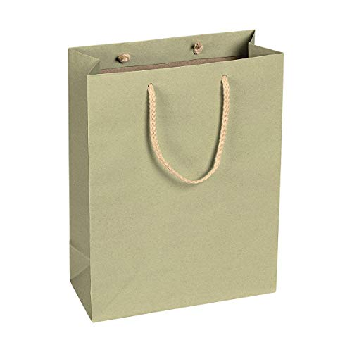 Papiertragetasche Salbei-Grün, 22 x 29 x 10 cm, mit Baumwollhenkel Papiertasche, Geschenktüte Kraftpapier - 12 Stück/Pack