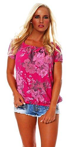 ZARMEXX Damen Bluse Oberteil Shirt Blumenmuster Carmenbluse Kurzarmshirt Viskose *BIG ROSE*, One Size Gr.36-40, Pink