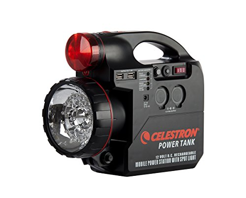 Celestron - PowerTank Telescope Battery - 12V Portable Power Supply for Computerized Telescopes - 7-amp hour/84 Wh - Car Battery Terminals - Emergency Kit - Red/White LED Flashlight - USB Ports