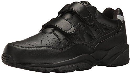Propet Men's Stability Walker Strap Sneaker Walking Shoe, Black, 7 5E US