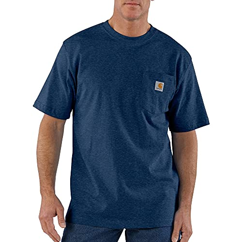 Carhartt mens K87 Workwear Short Sleeve T-shirt (Regular and Big & Tall Sizes) work utility t shirts, Dark Cobalt Blue Heather, Large US