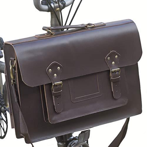 Fantastic Deal! London Craftwork Exclusive Leather Satchel Bag for Brompton Dark Brown S-Bag (Bag on...
