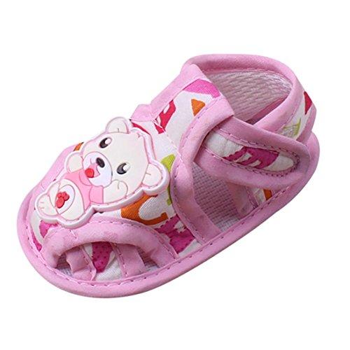 Chaussures de Bébé Sandales,LuckyGirls Chaussures de Berceau de Unisexe d'enfant Chaussures Douces de Ours de Dessin Animé Semelle Anti-dérapante Sandales (Âge: 6~12 Mois, Rose)