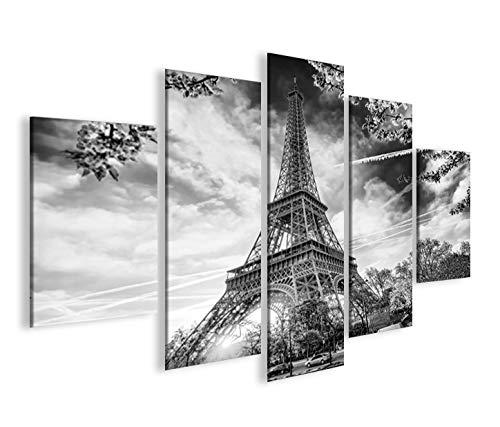 islandburner Islandburner - Imagen sobre lienzo de la Torre Eiffel V8, París MF, XXL, decoración para el salón