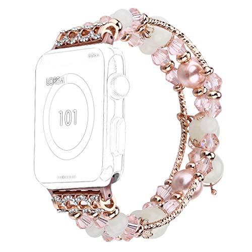 Happy-day - Correa de Reloj para Reloj de Pulsera para Apple Watch 42 mm/44 mm Series 4 3 2 1, Hombre, Rosa, 42 mm