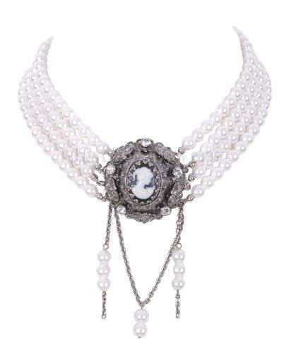 Moschen-Bayern Trachtenschmuck Dirndlschmuck Damen Kropfband Tracht Perlen Kropfkette Trachtenkette Dirndlkette Creme Silber