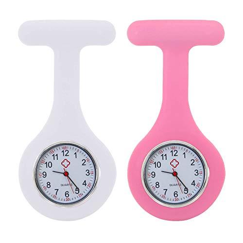 tumundo Schwestern-Uhr Puls Anstecknadel 2er Set Kittel Brosche Silikon-Hülle Quarz Damen-Schmuck Krankenschwester Pfleger-Uhr, Farbe:weiß + rosa