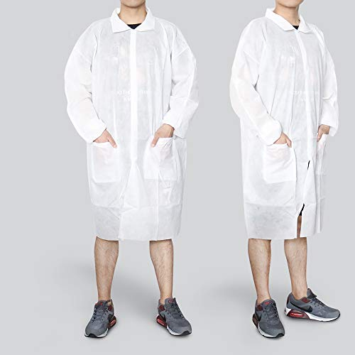 Reliancer 10 Pack Disposable Lab Coats Professional SMS Knee-length Laboratory Coat Science Jacket with Large Pockets Elastic Cuffs Snap Fasteners for Kids Adult Classroom Science Labs Science Parties
