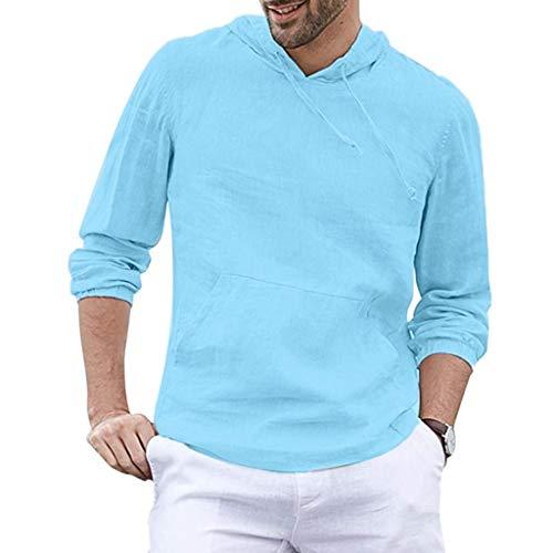 Tyoby Herren Mode Baggy Baumwolle Leinen Kapuzen Tasche Solide Langarm Tops Retro Schnitt Oberteil Hoodie(Blau,XXL)