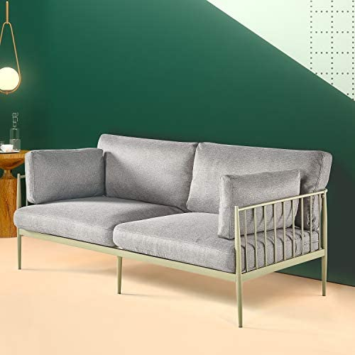 Best Zinus – Janelle - Steel Framed Sofa with Upholstered Grey Cushions