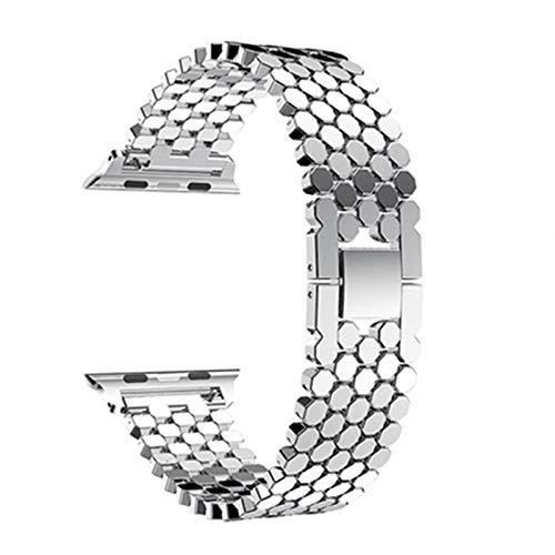 ZLRFCOK Correa para Apple Watch Band 44 mm 40 mm para Iwatch Band 42 mm 38 mm acero inoxidable pulsera metal para series 6 5 4 3,38/44 mm (color de la correa: plata, ancho de la correa: 38 mm 40 mm)