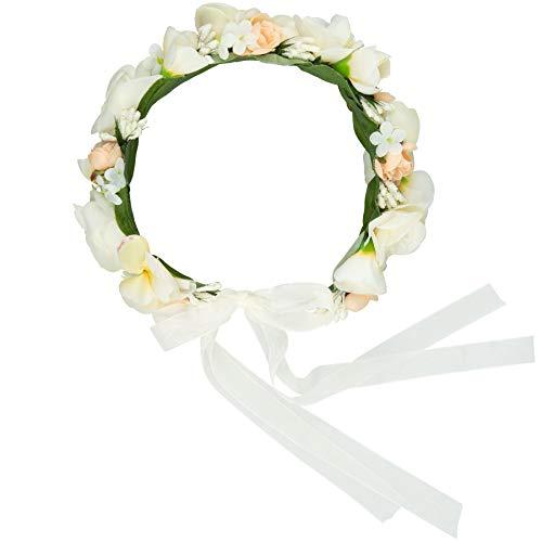 dressforfun 302785 Blumen Stirnband Haarband Blumenkranz, größenverstellbar, für Hochzeit oder Trachten Party