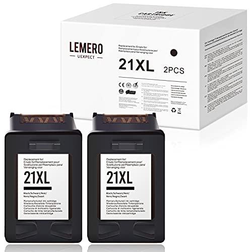 LEMERO UEXPECT Cartucho de tinta compatible HP 21XL para HP 21XL HP Deskjet F375 F4180 F370 F380 F4100 F2180 F350 F385 F390 F394 F4135 F4140 F4150 F4172 75 PSC. 1415 1410 (2 negro).