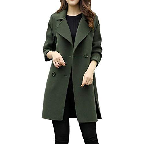 nobrand Herbst und Winter Warme Windbreaker Frauen Mantel mittellang Damen Slim Mantel Doppelreiher Trenchcoat Anzug Gr. Large, g