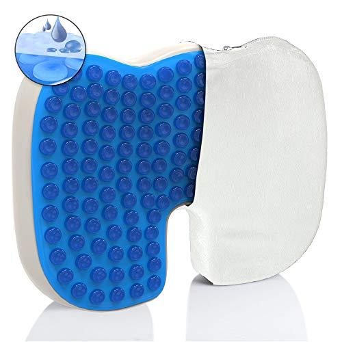 Mosswell® Ergonomisches Sitzkissen. Lässt Steißbein schweben. Steissbeinkissen mit Gel | Natürliches Sitzen | Lange Haltbarkeit. Sitzkissen Bürostuhl | Weißer Bezug