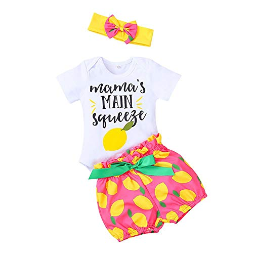 FYMNSI Mama's Main Squeeze Baby Girl Coming Home - Mono de algodón de manga corta + pantalones cortos estampados de limón + diadema 3 piezas de ropa de verano para 0-18 meses