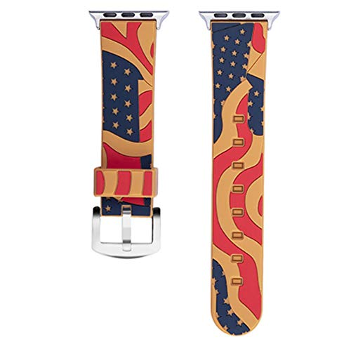 Banda de silicona suave para Apple Watch Series 2 3 38 mm 42 mm Patrón de bandera nacional Correa de pulsera para iWatch SE 6 5 4 44 mm 40 mm
