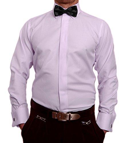 Paco Romano Slim Fit Smoking Hemd Flieder Struktur Schwarze Fliege New Kent Kragen Langarm Größe S 38