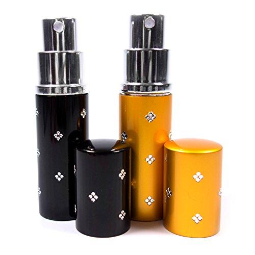 Reise Parfüm-Zerstäuber Flacon leicht nachfüllbar und perfekt für unterwegs/Reise Leere Sprühflasche aus Aluminium 10ml Parfum-Zerstäuber Set in 2 Farben schwarz Gold