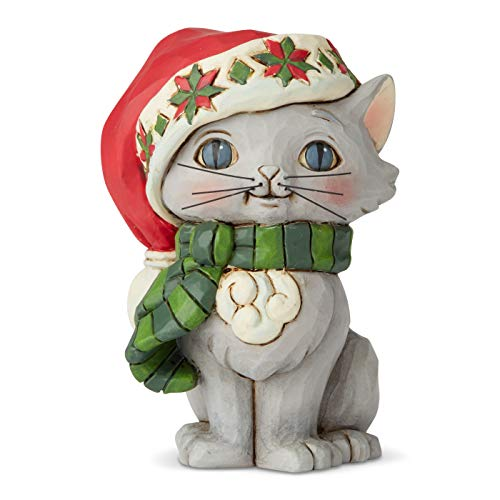 Christmas Cat Figurine With Christmas Hat
