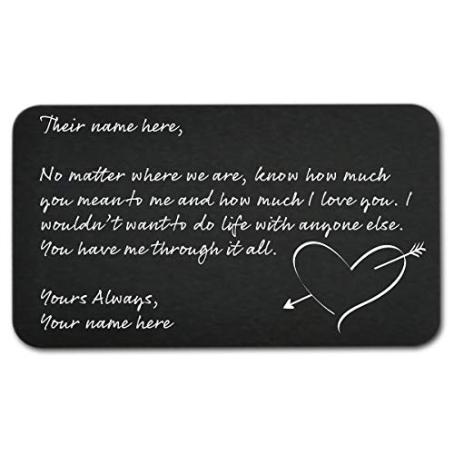 Engraved Wallet Inserts - Personal Letter - Perfect Anniversary Gifts For Him,...
