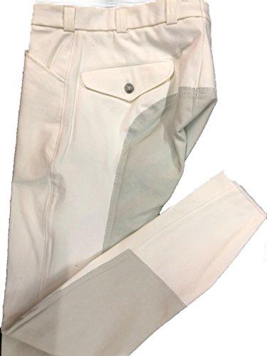 CATAGO Herren Reithose Aachen Microfibre Vollbesatz, 2 Einschubtaschen, 2 Gesäßtaschen mit Knopf, Klettabschlüsse (94, Weiß)