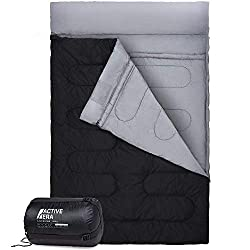 Extra large double sleeping bag (220 x 150 cm) - Larger than a Queen Size bed and converts into 2 single sleeping bags Suitable for all year round and water resistant for use in +10°C to 0°C. Extreme use down to -5°C Warm 250GSM filling, wind-proof z...