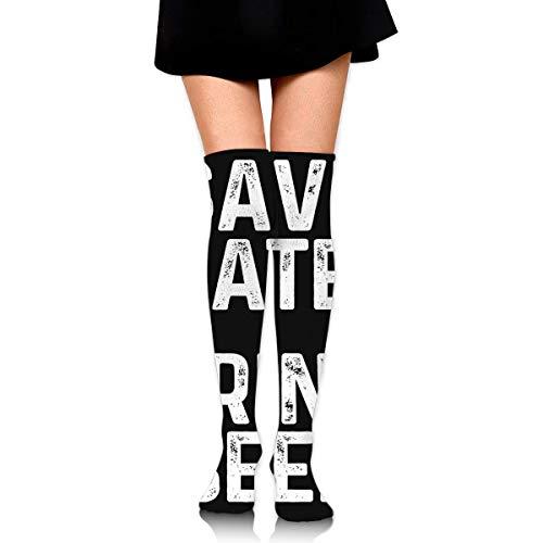 hdyefe Women's Over Knee High Stockings 60CM Save Water Drink Beer Long Tube Socks