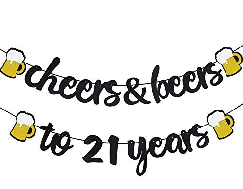 21th Birthday Decorations,Cheers & Beers to 21 Years Banner Black Glitter Banner for 21th birthday Backdrop Wedding Aniversary Party Supplies Decorations - PRESTRUNG