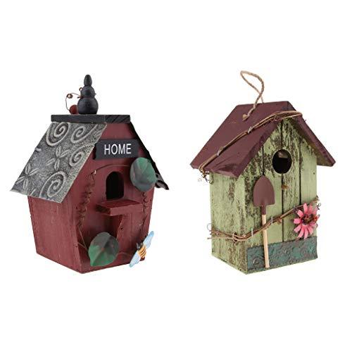 FLAMEER Casetta per Uccelli in Legno in 2 Pezzi, Casette per Uccelli in Campagna in Stile retrò E Artigianato, Ricovero per Uccelli All'aperto