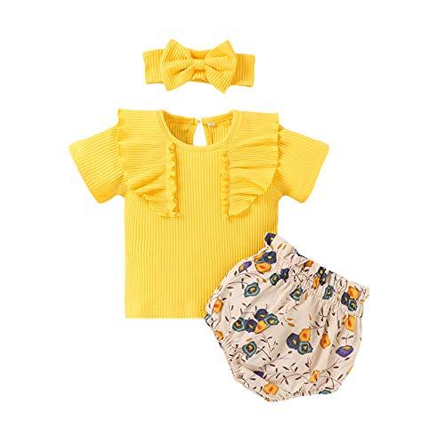 Livingsenburg Juego de 3 pantalones cortos de manga larga para niña de 0 a 24 meses, diseño floral, color rojo A-amarillo 12-18 Meses